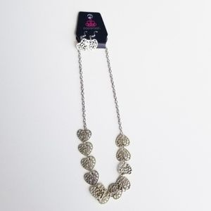 Paparazzi NWT Silver Heart Earrings & Necklace Set